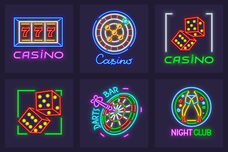 Set of neon icons for excitable play games in casino and nighttime entertainments. Jackpot, roulette playing slot-machines, darts bar, striptease club. EPS10 vector illustration. 向量圖像
