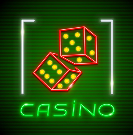 Cubes for playing dice in Casino. Neon icon. Excitable game symbol. EPS10 vector illustration. Vettoriali