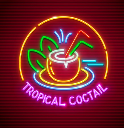 Tropical cocktail refreshing drink in coconut. Neon icon sign for beach bar 向量圖像