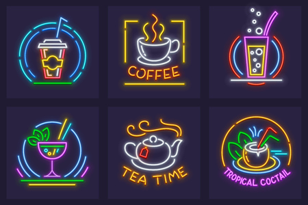 Set of neon icons with beverages. Cola, coffee in cup, hot tea, sparkling water, glases with cocktails in goblet and coconut. Vector illustration. Vettoriali