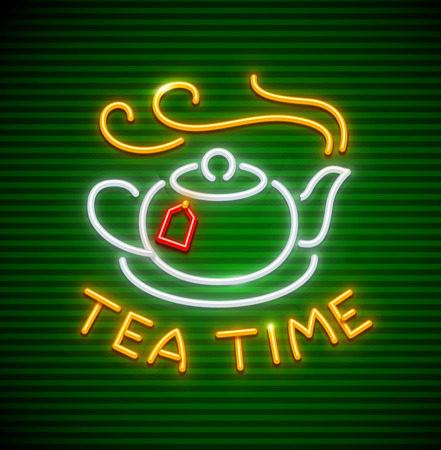 Tea time. Neon icon with teapot hot tea drink steam and label on saucer. Vettoriali