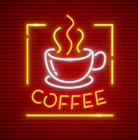 Hot coffee in cup with saucer. Neon icon sign.