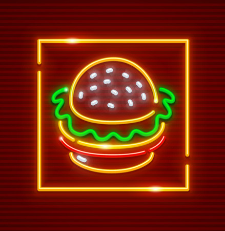Hamburger fast food. Neon icon. 向量圖像