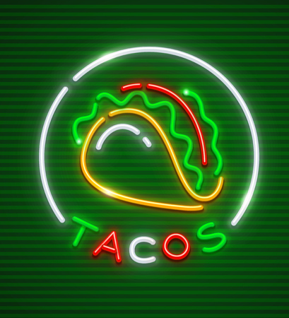 Tacos neon emblem. Mexican traditional cuisine. Neon logo icon for street food restaurant or cafe.
