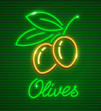 Ripe olives on branch with green leaves. Neon icon logotype for extra virgin olive oil. Vettoriali