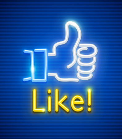 Finger up with like gesture. Neon symbol popular icon for communication in social networks.