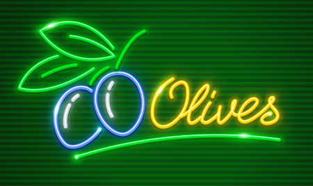 Ripe olives on branch with green leaves. Neon icon logotype for extra virgin olive oil. EPS10 vector illustration. Vettoriali