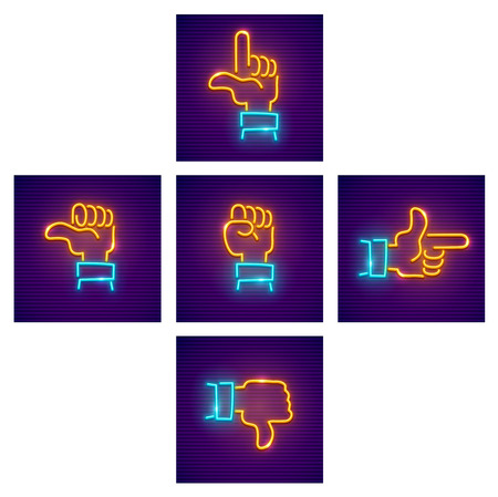 Hands with gestures of directions as arrows on keyboard. Neon icons set, isolated white background. EPS10 vector illustration.