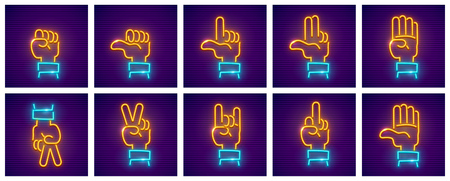 Set of hand gestures. Neon icons with fingers for gesticulation, isolated white background. EPS10 vector illustration.
