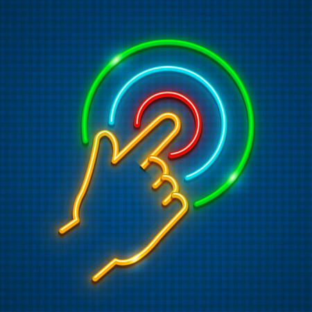 Click finger on touchscreen. Touching screen smartphone. Neon icon with gesture. EPS10 vector illustration.