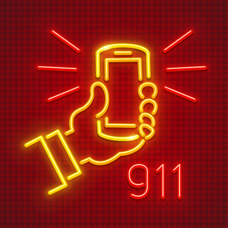 Call emergency by telephone number 911. Calling to rescue service. Smartphone in hand neon icon. EPS10 vector illustration.
