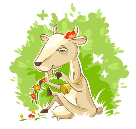Pretty milky goat sit on grass on lawn and braid wreath of flowers among green nature. Cartoon farm animal character, Isolated on white background. Eps10 vector illustration.