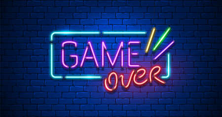 Game Over neon Text Sign with a Brick Wall