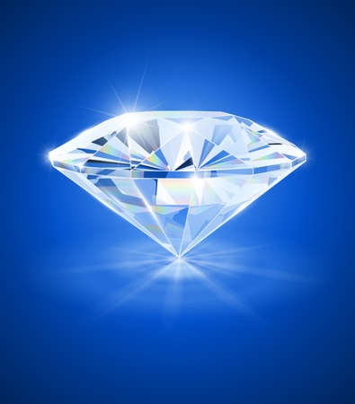 diamond on blue background vector illustration EPS10. Transparent objects and opacity masks used for shadows and lights drawing
