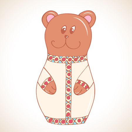 Cartoon bear in matryoshka doll style illustration