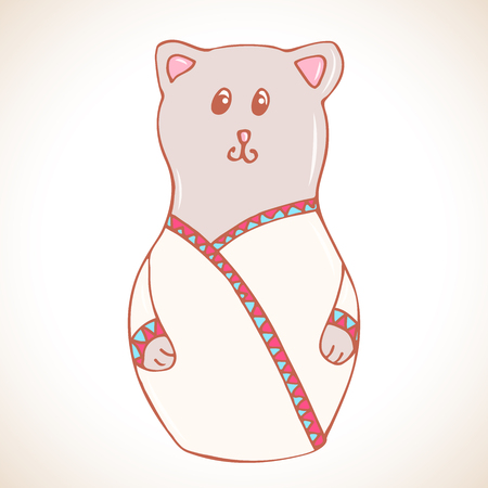 matryoshka: Cartoon cat in matryoshka doll style illustration