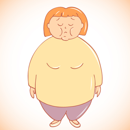 Illustration of fat woman dissatisfied with her body shape Illustration