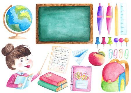 Back to school set Watercolor stationery collection Teacher Globe Blackboard illustration Stock Photo
