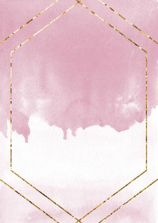 pink watercolor Card template with golden framebackground