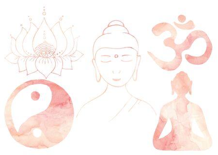 Meditation set Blush pink watercolor Yoga elements Buddha, Om sign, Yin Yang, Lotus