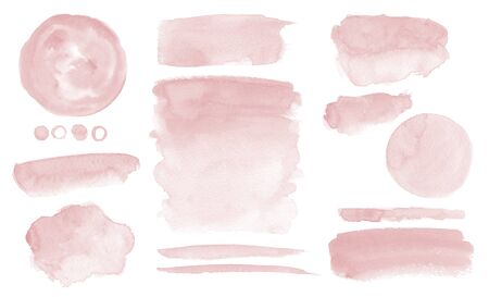 Blush pink watercolor stains Paint stropke washes Kit of splashes