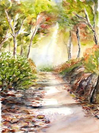 風景の水彩画