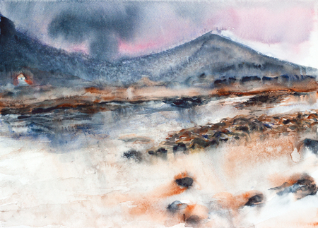 landschap 'aquarel schilderij Stockfoto