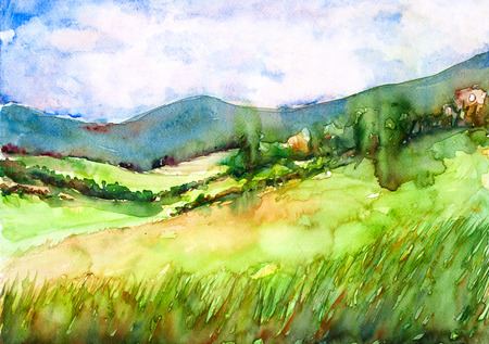 landscape' watercolor painting