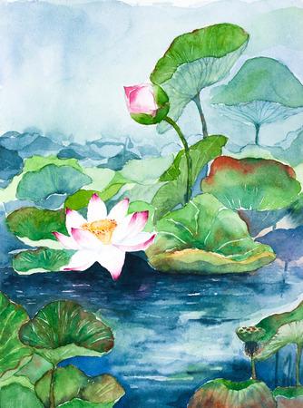 蓮の花の水彩画