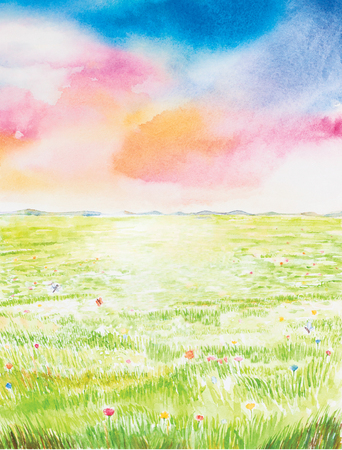 dream land: landscapewatercolor painted