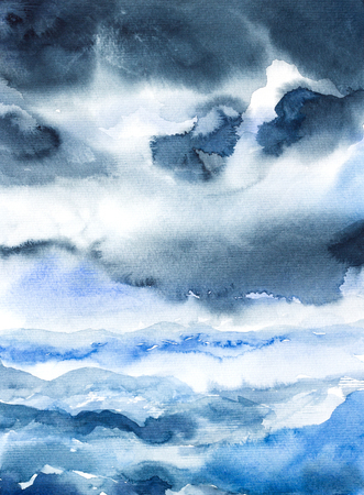 marvelous: storm seascape watercolor on paper painted Stock Photo