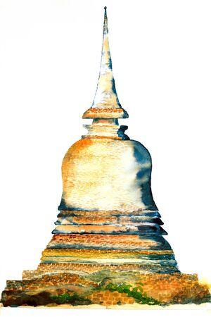 monasteries: pagoda watercolor on paper