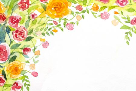 red rose background: roses background watercolor on paper Stock Photo
