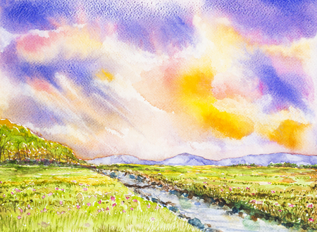 flowers field: flowers field and colorful sky watercolor on paper
