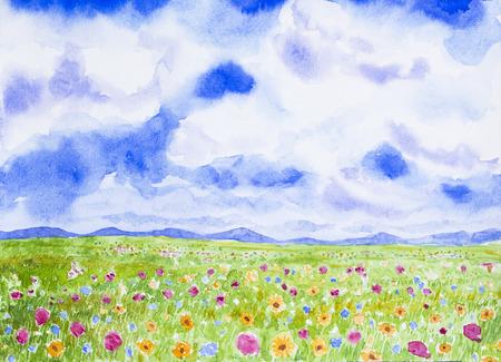 flowers field landscape watercolor on paper Stock Photo