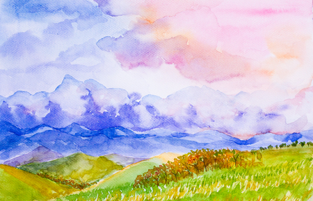 mountain landscape with colorful sky watercolor on paper