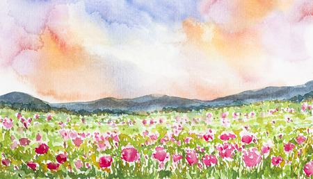 종이에 핑크 꽃 필드 풍경 수채화