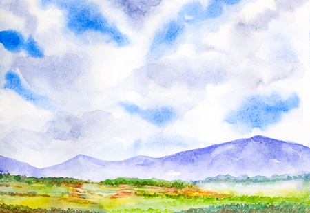 grassland: mountain landscape with blue sky watercolor on paper