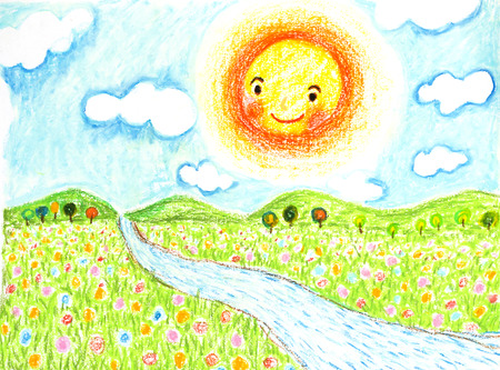 flowers field: smiling sun with flowers field and river oil pastel on paper Stock Photo