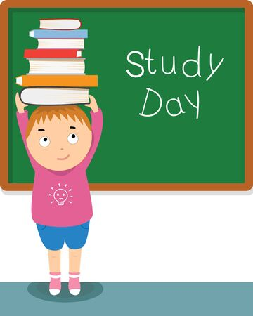 adolescence: boy and books in study day illustration