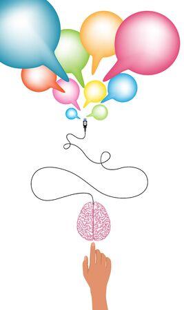 computer education: click to brain concept and idea illustration