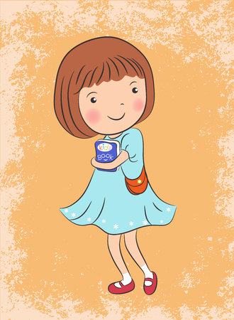 little colours: cute girl with kids book character illustration