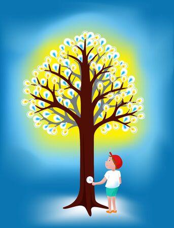 arbre ampoules et un concept de garçon et idée illustration Vecteurs