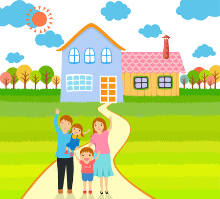 family outside house: happy family at home illustration