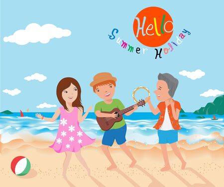 charactor: happy in summer illustration