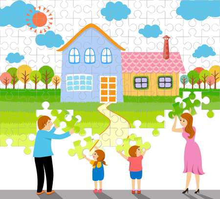 a family making a home jigsaw puzzle concept and idea illustration