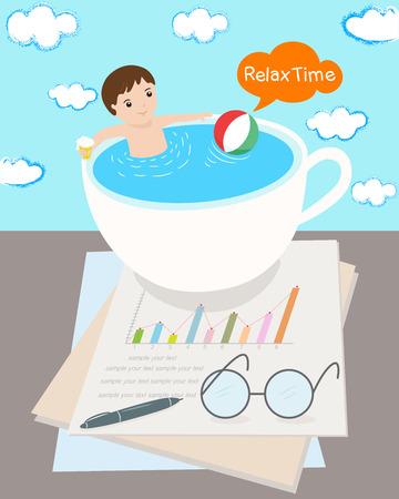 hardwork: relax time for businessman illustrator