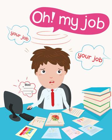 businessman & hardworking illustration Stock Vector - 48549916