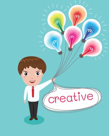 inventive: creativeman and colorful lamp