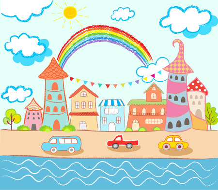 city landscape: happy in colorful city cute style